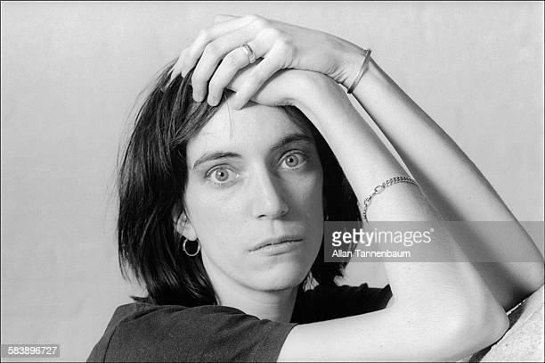 Portrait of American musician and poet Patti Smith as she poses with her hands on her head New York New York February 2 1974