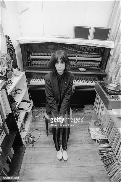 Portrait of American musician and poet Patti Smith in her apartment studio New York New York January 9 1974