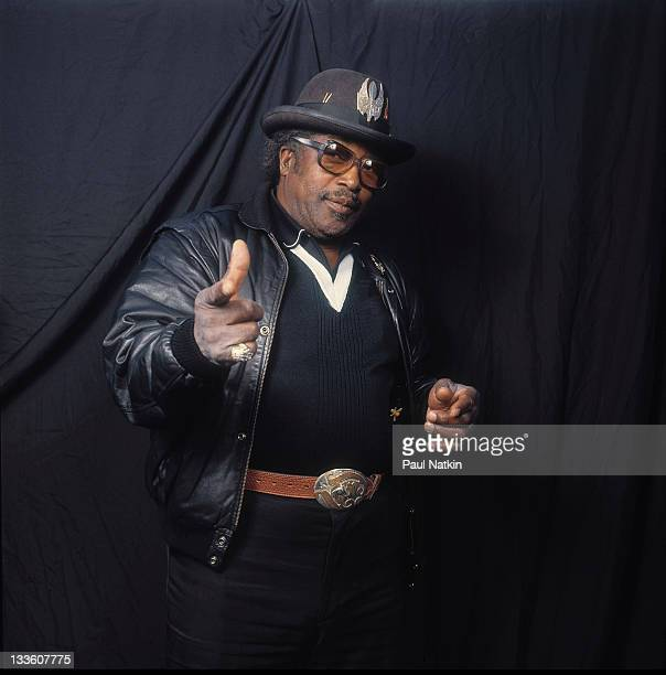 Portrait of American musician Bo Diddley backstage at the Riviera Theater before a performance Chicago Illinois November 5 1987