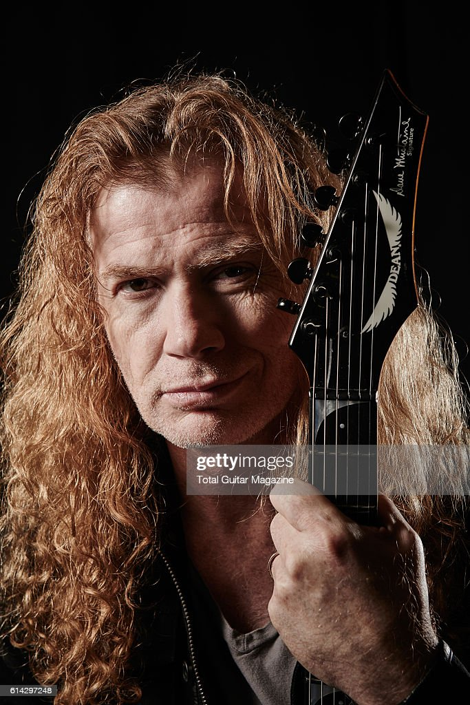 Portrait of American musician Dave Mustaine, guitarist and vocalist with thrash metal group Megadeth, photographed backstage before a live performance at Wembley Arena in London, on November 14, 2015.