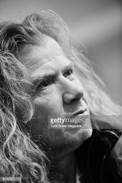 Portrait of American musician Dave Mustaine guitarist and vocalist with thrash metal group Megadeth photographed during an interview at Wembley Arena...