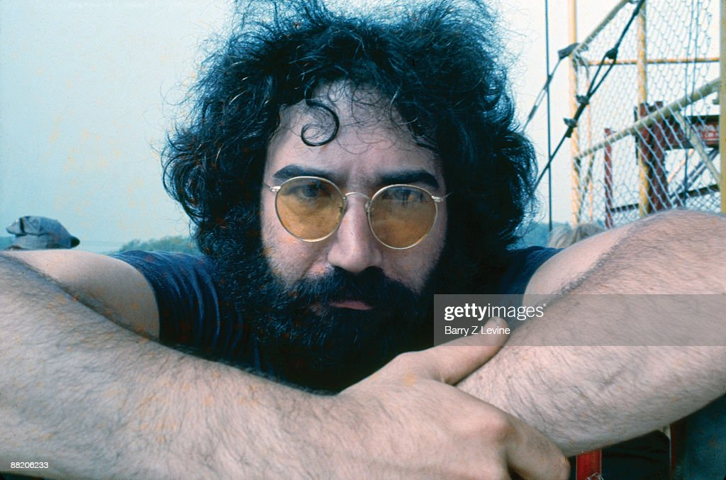 Portrait of American musician Jerry Garcia (1942 - 1995) from the band the Grateful Dead backstage at the Woodstock Music and Arts Fair in Bethel, New York, August 16, 1969.