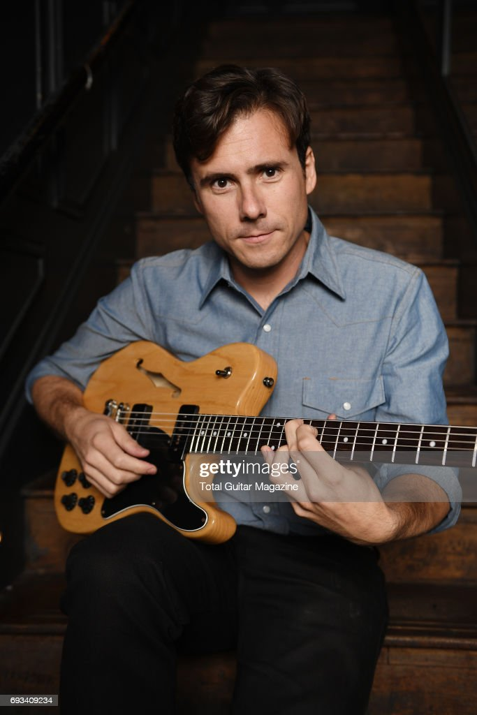 Portrait of American musician Jim Adkins, guitarist and vocalist with rock group Jimmy Eat World, photographed before a live performance at The Scotch of St. James in London, on September 6, 2016.