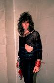 Portrait of American musician Jon Bon Jovi backstage before a performance at the Rosemont Horizon Rosemont Illinois May 20 1984