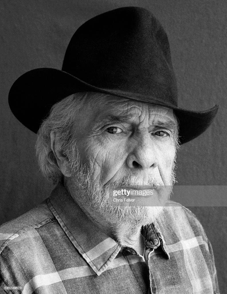 Portrait of American musician Merle Haggard, Redding, California, 2014.