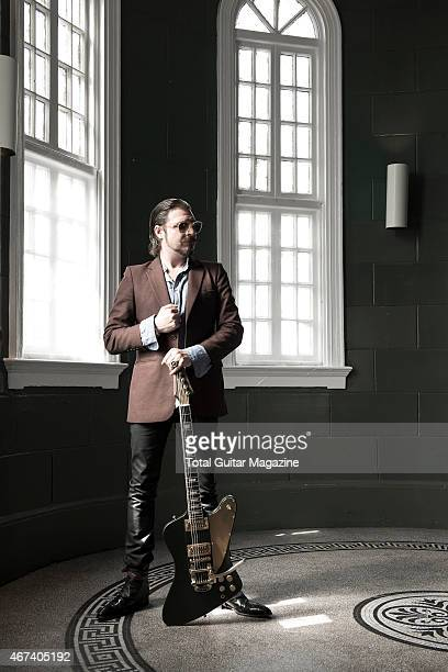 Portrait of American musician Scott Holiday guitarist with rock group Rival Sons photographed before a live performance at Scala in London on June 9...