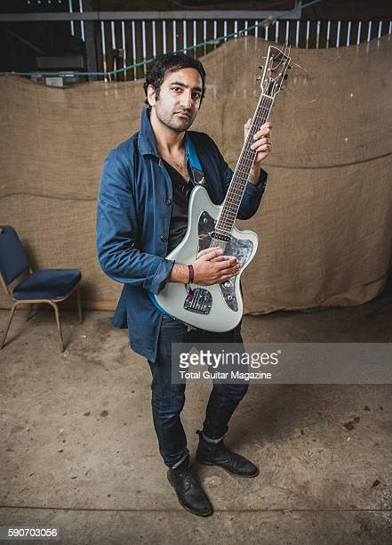 Portrait of American musician Shiv Mehra guitarist with black metal group Deafheaven photographed backstage at ArcTanGent Festival in Somerset on...
