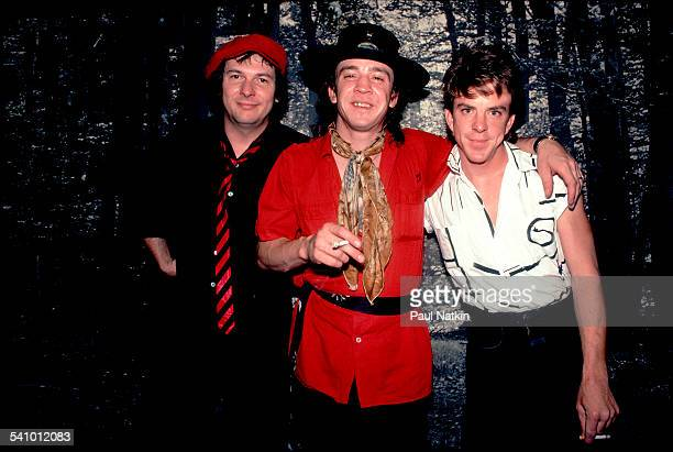 Portrait of American musician Stevie Ray Vaughan and his band as they pose backstage at the Metro Chicago Illinois July 3 1983