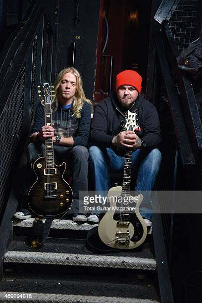 Portrait of American musicians Ben Wells and Chris Robertson of rock group Black Stone Cherry photographed before a live performance at KOKO in...