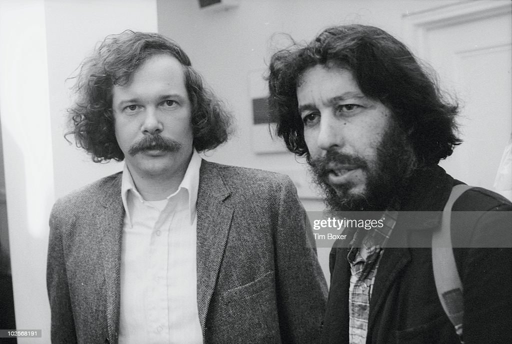 Portrait of American musicians Ed Sanders (left) and Tuli Kupferberg, of the band the Fugs, at a party to celebrate the publication of Sanders' book, 'Tales of Beatnik Glory,' at the Locale (on Waverly Place), New York, New York, October 23, 1970.
