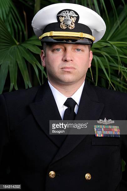 Portrait of American Navy Officer Man in Dress Uniform Outdoors