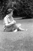 Portrait of American novelist Harper Lee as she sits on the grass Monroeville Alabama May 1961 Lee's novel 'To Kill a Mockingbird' was award the 1961...