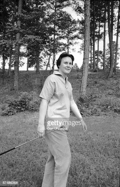 Portrait of American novelist Harper Lee as she walks to the next tee on a golf course at a country club Monroeville Alabama May 1961 Lee's novel 'To...
