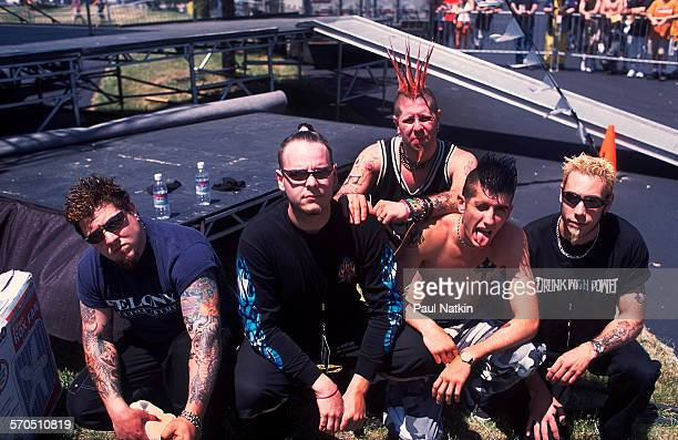 Portrait of American Nu Metal band From Zero as they pose together at the World Music Theater Tinley Park Illinois May 2001