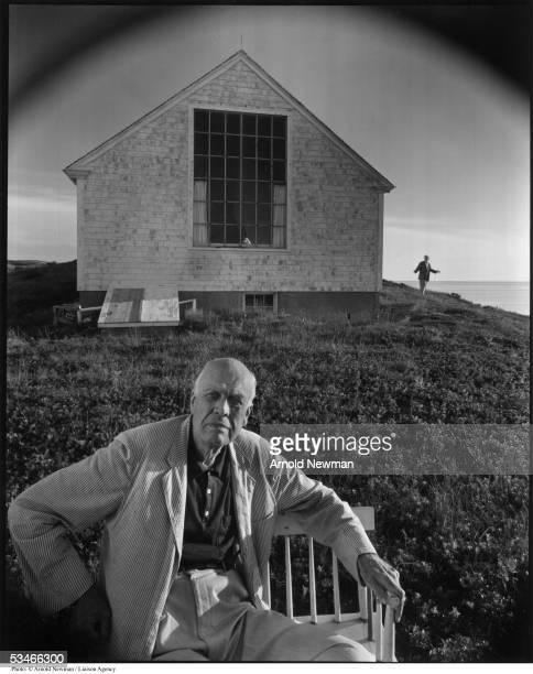 Portrait of American painter Edward Hopper August 14 1960 in Truro Massachusetts Hopper's wife Jo is in the background