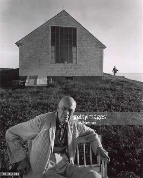Portrait of American painter Edward Hopper in Truro Massachusetts 14th August 1960 Hopper's wife Jo is in the background