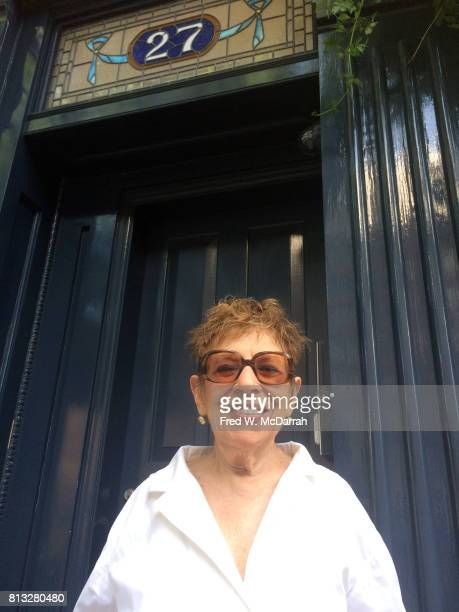 Portrait of American poet and magazine editor Hettie Cohen Jones in front of her home New York New York June 20 2017 She was photographed during the...