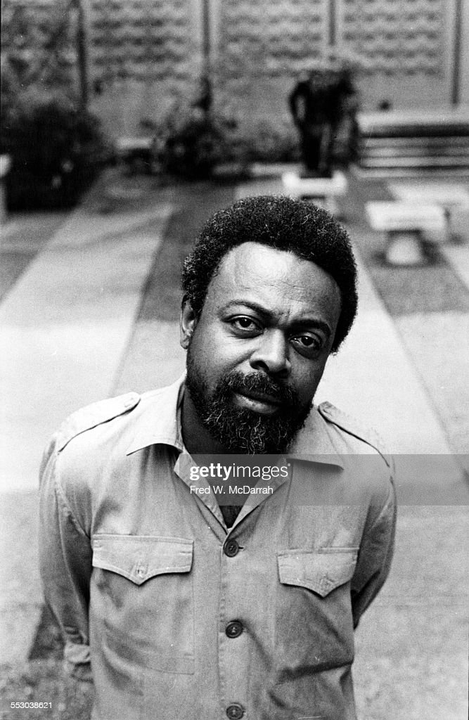 Portrait of American poet and playwright Amiri Baraka (formerly known as LeRoi Jones, and also as Imamu Amear Baraka, 1934 - 2014) as he poses at the New School, New York, New York, July 1, 1977.