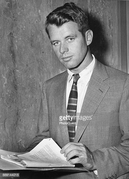 Portrait of American politician Robert Kennedy chief counsel of the Senate Select Committee on Improper Activities in the Labor or Management Field...