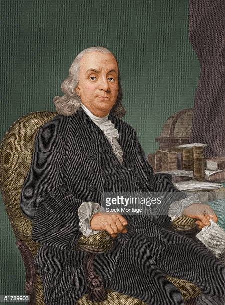 Portrait of American politician scientist and philosopher Benjamin Franklin one of the drafters of the Declaration of Independence 1770s