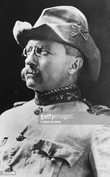 Portrait of American politician Theodore Roosevelt when he was the commander of the first Volunteer US Cavalry during the Spanish American War His...
