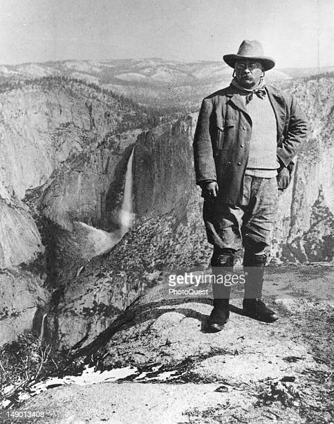 Portrait of American politiican US President Theodore Roosevelt as he poses on Glacier Point Yosemite Valley California May 1903