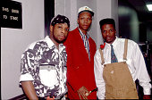Portrait of American pop and rhythm blues group Bell Biv DeVoe as they pose backstage before a performance Milwaukee Wisconsin July 3 1991 Pictured...