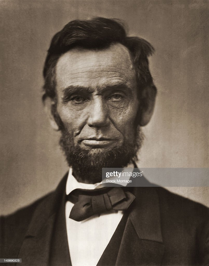 Portrait of American President <a gi-track='captionPersonalityLinkClicked' href=/galleries/search?phrase=Abraham+Lincoln&family=editorial&specificpeople=67201 ng-click='$event.stopPropagation()'>Abraham Lincoln</a> (1809 - 1865), mid 19th century.