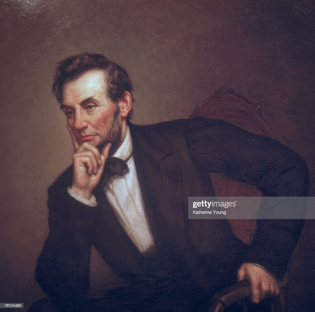 Portrait of American President <a gi-track='captionPersonalityLinkClicked' href=/galleries/search?phrase=Abraham+Lincoln&family=editorial&specificpeople=67201 ng-click='$event.stopPropagation()'>Abraham Lincoln</a> (1809 - 1865) (painted by George P. Healy, mid-late 1800s), Washington, DC, 1969. The portriat was one of three painted by Healy (sometimes spelled as Healey).
