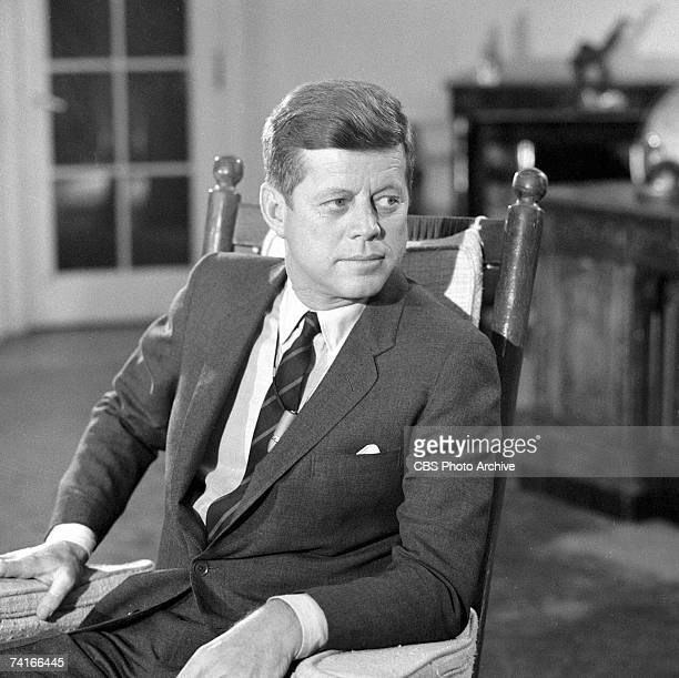 Portrait of American President John F Kennedy in the White House during the filming a televised interview entitled 'After Two Years A Conversation...