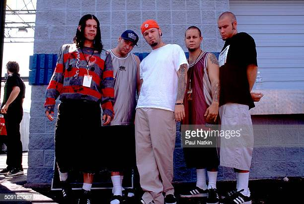 Portrait of American rap and metal group Limp Bizkit as they pose backstage Chicago Illinois September 6 1997 Pitcured are from left Wes Borland DJ...