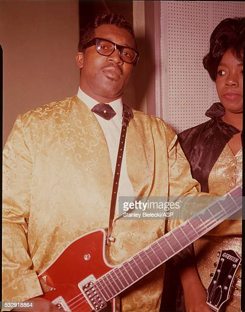 Portrait of American RB singer and guitarist Bo Diddley in London circa 1965