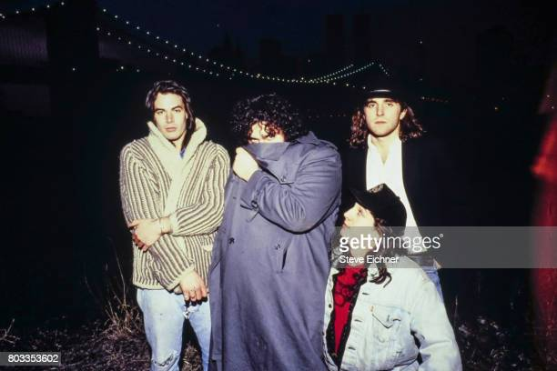 Portrait of American Rock group Blues Traveler as they pose outdoors New York New York 1995 Pictured are from left Chan Kinchla John Popper Brendan...