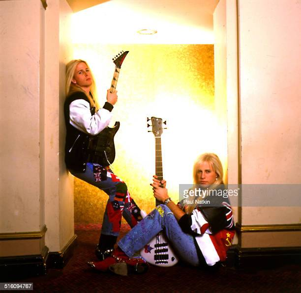 Portrait of American rock group Nelson Chicago Illinois February 23 1991 Pictured are twin brothers Gunnar and Matthew Nelson