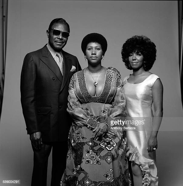 Portrait of American singer Aretha Franklin her father Baptist preacher CL and her sister her sister fellow singer Carolyn New York 1971