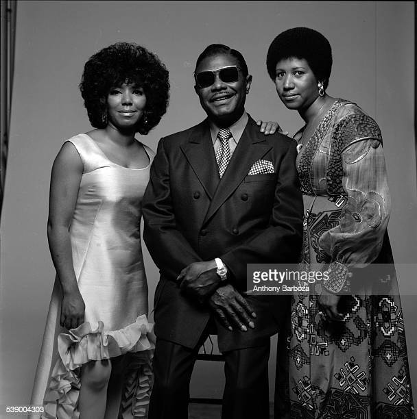 Portrait of American singer Aretha Franklin her father Baptist preacher CL and her sister fellow singer Carolyn New York 1971