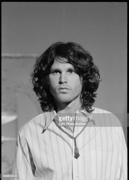 Portrait of American singer Jim Morrison leader of the rock band The Doors on 'The Smothers Brothers Comedy Hour' California January 6 1969