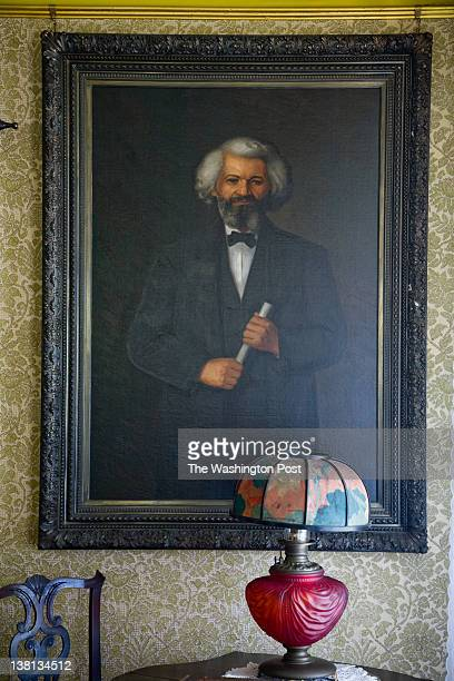 A portrait of American social reformer orator writer statesman and former slave Frederick Douglass by Sarah Eddy in the East Parlor at the Frederick...