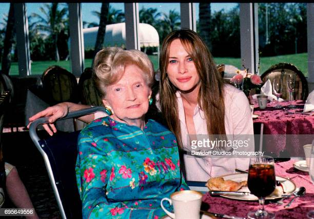 Portrait of American socialite Mary Trump and her daughterinlaw former model Melania Trump as they pose together in the tea house of the MaraLago...