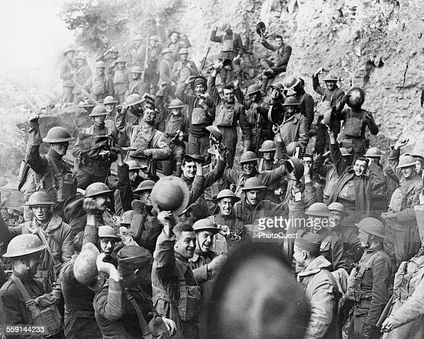 Portrait of American soldiers of the 64th Infantry Regiment 7th Division as they celebrate the end of World War I Min de Jaulny Meurthe et Moselle...