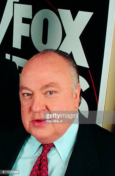 Portrait of American television executive and Chairman of Fox News Roger Ailes as he poses at a Television Critics Association press event Pasadena...