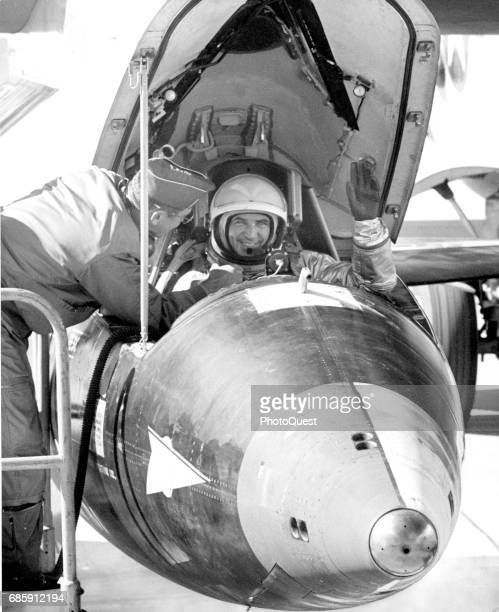 Portrait of American test pilot Major General Robert Michael White in the cockpit of North American X15 experimental aircraft Edwards Air Force Base...