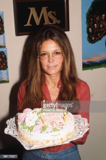 Portrait of American women's rights activist and author Gloria Steinem as she poses with a birthday in celebration of the sixth year of Ms magazine...