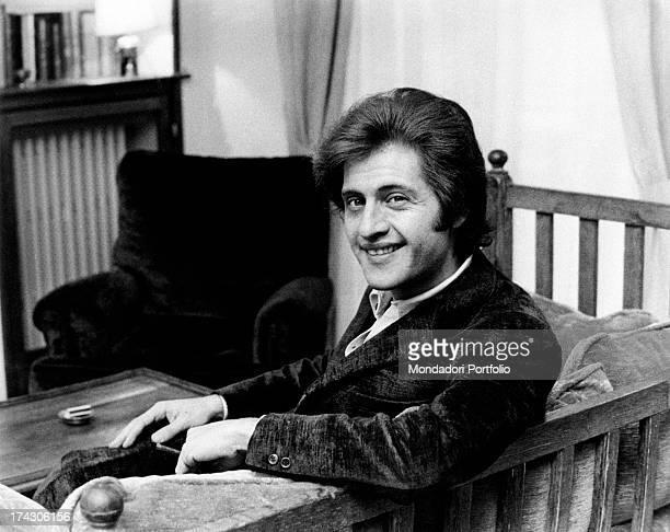 Portrait of Americanborn French singer Joe Dassin smiling Paris 1970s