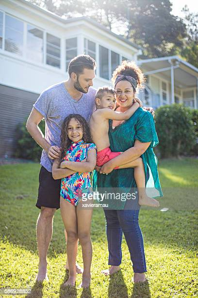 Portrait of an aboriginal family at home