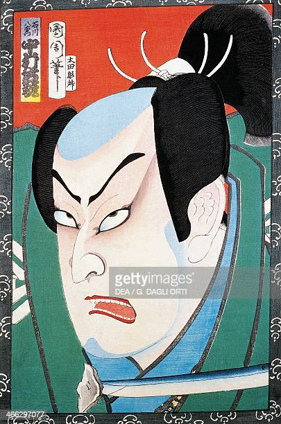 Portrait of an actor 19th century ukiyoe art print from the Kabuki theatre series woodcut Japanese civilisation Edo period 17th19th century