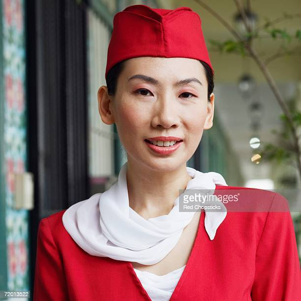 Portrait of an air stewardess smiling