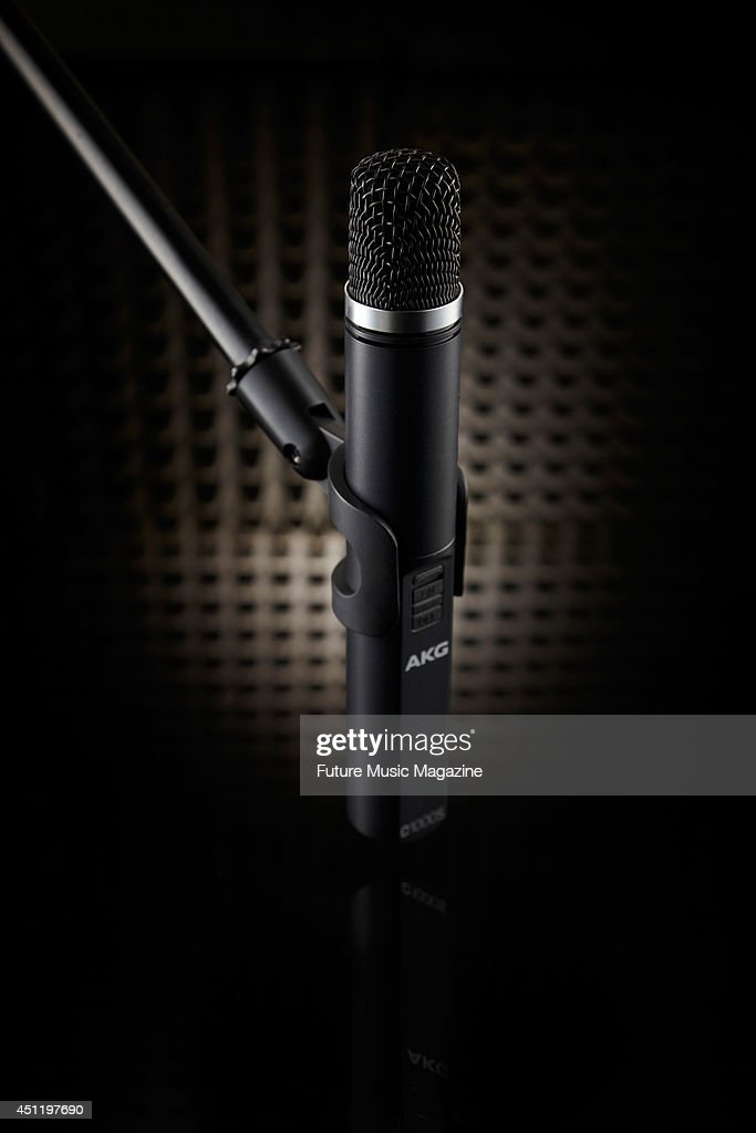Portrait of an AKG C1000 S smalldiaphragm condenser microphone photographed in a recording booth taken on August 19 2013