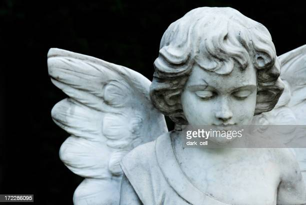 A portrait of an angel statue on a black background