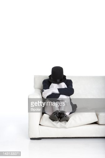 Portrait of an anonymous man in a faceless costume : Stock Photo